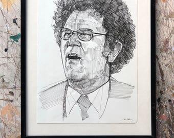 Hand drawn portrait of Dr. Steve Brule - framed