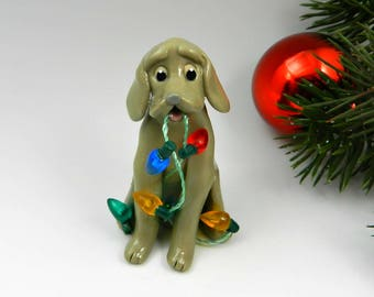 Weimaraner Mouse Gray Christmas Ornament Figurine Lights Porcelain