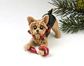 Yorkshire Terrier Christmas Ornament Figurine Candy Cane Porcelain