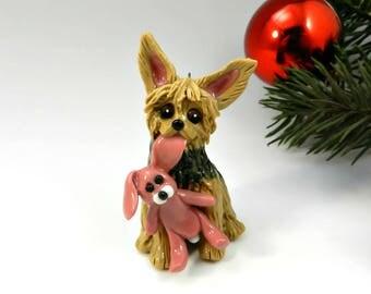 Yorkshire Terrier Christmas Ornament Figurine Toy Bunny Porcelain