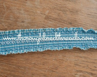 Blue Gingham Smocked - 3 yards Vintage Fabric Trim New Old Stock Doll Making