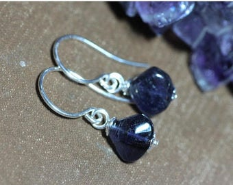 SALE Iolite Earrings Blue Gemstone Triangle Teardrop Bead Earrings Sterling Silver Gold Copper