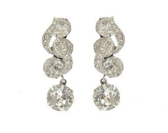 Eisenberg Vintage Rhinestone Earrings, Designer Rhinestone Dangling Earrings, Fine Bridal Wedding Jewelry, Clear Crystal Statement Earrings