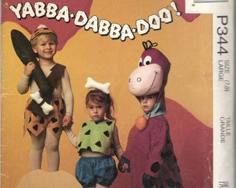 McCalls 5555 P204 Boys Girls Flintstones Costume Pattern Bam Bam Pebbles Dino Toddlers Sewing Pattern Size Large  UNCUT