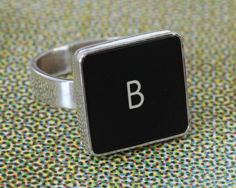 SALE - Computer Key Jewelry - rePURPOSED MacBook Sterling Silver Letter Key Ring (B)