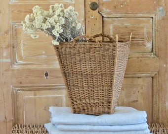 Old Lovely French Hand Woven Basket