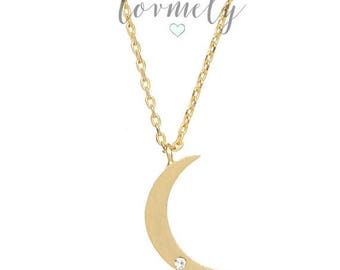 SUMMER SALE crescent moon with diamond necklace - gold filled necklace -minimalist