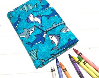 shark crayon wallet coloring book washable toy crayon case crayon roll up - Coloring Book And Crayon Holder