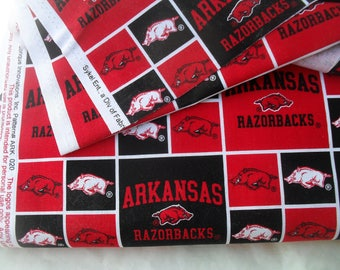 """Arkansas RazorBacks Offical Cotton Fabric yards for Sewing Quilting Crafts 36"""" wide"""