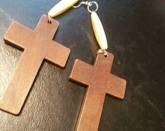 Cross earrings, Wood Earrings,