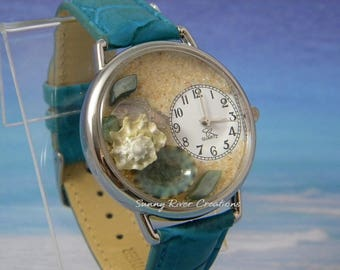 Turquoise Shell Watch with Blue Limpet Turban Spurred Abalone Shells and green scales