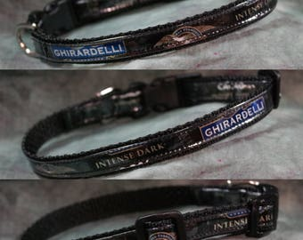 Adjustable Toy Dog/Cat Collar from recycled Ghirardelli Intense Dark Chocolate Wrappers