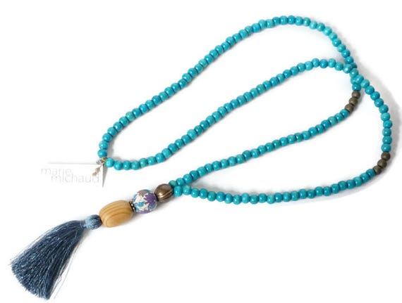 Mala style necklace,Wood necklace,Necklace with tassel,Boho necklace,Turquoise necklace,Hippie chic necklace,Summer necklace,Liberty jewelry
