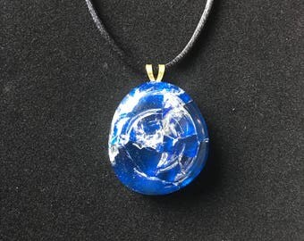 Handcrafted cracked glass pendant with black corded necklace