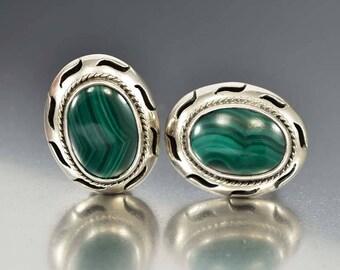 Vintage Taxco Silver Malachite Earrings   Sterling Silver Mexican Clip On Statement Earrings   Green Stone Southwestern Earrings