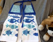 Hanging Printed Terry Tie Towels, Blue Flower Calico Print Top