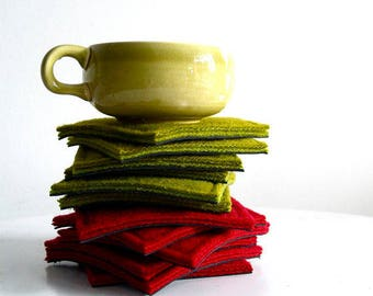 coaster set - chartreuse or red coasters