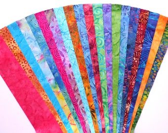 Batik Fabric Hand Dyed Jelly Roll Quilt Quilting Strip Pack Sewing Patchwork Indonesian Material Die Cut No Duplicates (sku JR120-BATKyd)