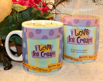 Novelty Ice Cream Soy Wax Candle, YOUR SCENT CHOICE, Homemade, Hand Poured, Gift, Housewarming Gift, Birthday Gift, Humorous,For Him,For Her