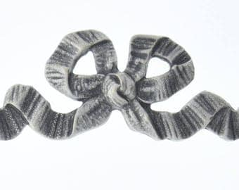 Brass stamping Bow 80mm x24mm Ornametal Bow, Antique Silver, Metal Stamping, each 04234AS