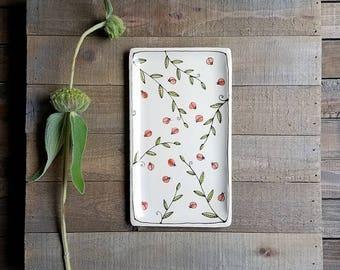 Ceramic ladybug dish,  ladybug plate, dish with ladybug design, hand drawn ladybug, small plate for her.