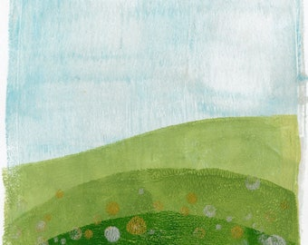 Monoprint No.7, rolling hills original art