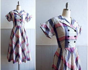 1940s Pink and Grey Plaid Day Dress