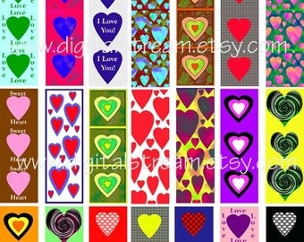 Heart Pics 1x3 Inch Digital Collage Sheet 35 Different Microscope Slide Shapes for Scrapbooking Crafts and Jewelry