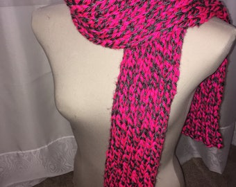 Chunky Ribbed Scarf- Pink/Grey
