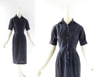 20% off sale 1950s Day Dress | The Archivist | Blue 50s Dress | XXS XS
