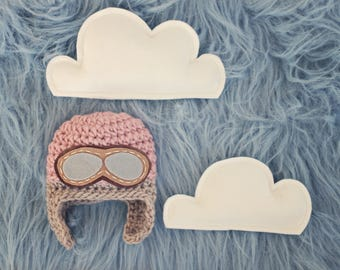 cloud stuffie set / NOT hat / pilot hat prop / aviator hat prop / cloud prop / photography prop / sky prop