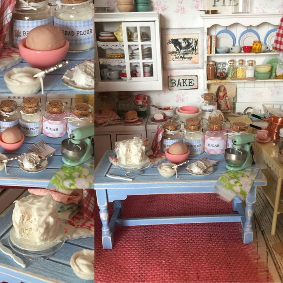 Miniature Soring Cake Baking Distressed Blue Prep Table