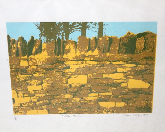 Vintage 1977 Signed Chris Noble Serigraph Print, Winter Morning Numbered 9/25 Screenprint