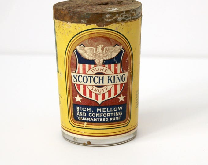 Vintage Scotch King Snuff Jar, 1930s Glass Tobacco Jar with Paper Label