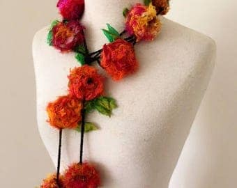 flower necklace, Recycled silk rose garland, hand crocheted, boho tattered rag rose necklace, orange pink