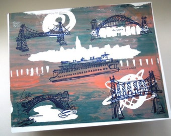 THE FIVE BOROUGHS #46   New York City bridges in rainy day colors, unique silkscreen art hand printed by Kathryn DiLego