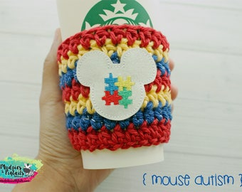 Crochet Coffee cup Cozy ( Mouse Autism } puzzle pieces, awareness Coffee mug sleeve, stocking stuffer, mickey