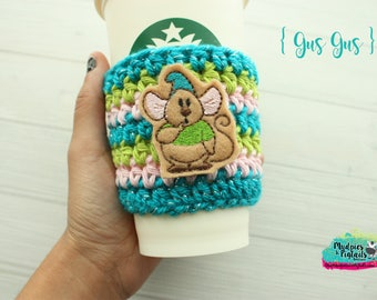 Mice Cup Cozy { Gus Gus }  castle, princess, crochet coffee sleeve, knit mug sweater, starbucks gift, frappuccino holder