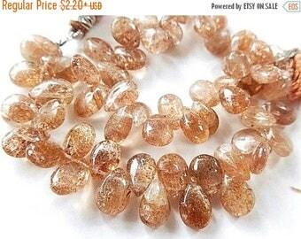 SALE Sunstone Gemstone Pear Briolettes.  Smooth 8-9mm. Semi Precious Gemstone. Packet of 5.  (75sun1).