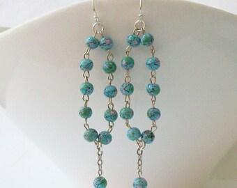 Blue Green Dangle Earrings, Vintage Rosary Beads Dangle Earrings