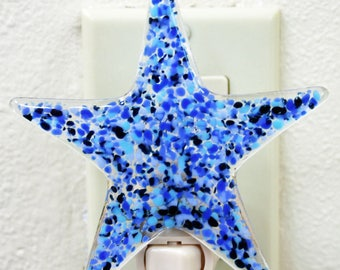 Glassworks Northwest - Star Night Light Blues - Fused Glass Art
