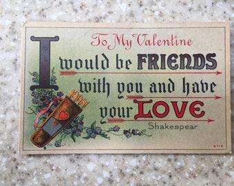 1912 Antique Shakespeare Quote Valentine's Day Postcard