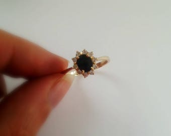Vintage Gold Solitaire Ring - 14k Yellow Gold Oval Blue Sapphire Ring - Oval Blue Sapphire Solitaire 14K Gold - Vintage Sapphire Ring Size 8