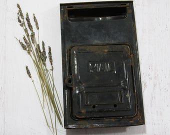 Vintage Black Metal MAILBOX- House Postal Delivery Letter Box- Mail Box- Vintage Rustic Decor