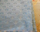 """SKY BLUE BROCADE Fabric Fan Design White Raised Woven Silk, Clean Unused Upholstery Remnant, Chair Seat Cover Pillow Purse Cushion 44 x 56"""""""