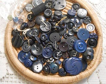 Bulk Vintage NAVY BLUE BUTTONS Mixed Lot Multi Shades Sizes Designs Prs & Sgls Art Sewing Jewelry Collage Supply, 5 oz Bag Destash Notions 4