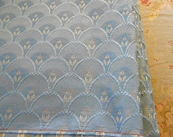 SKY BLUE BROCADE Fabric Fan Design White HIghlights Raised Woven Silk, Clean Unused Remnant, Chair Seat Cover Pillow Purse Cushion 44 x 56""
