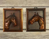 Vintage Metal Horse Plaques Pair Brass Country Western Ranch Home Decor 3 D