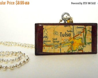 Tulsa Oklahoma Map Collage Domino Necklace Pendant Reclaimed Mixed Media Art OK