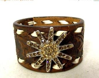 Rhinestone Spur Rowel Western Boho Leather Cuff - upcycled bracelet Hippie